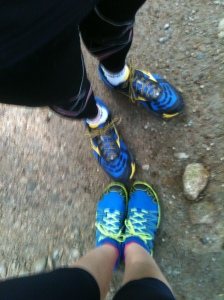 Sorry it's blurry.  There were people coming on the trail and I didn't want to look like the weirdo taking a picture of her shoes...